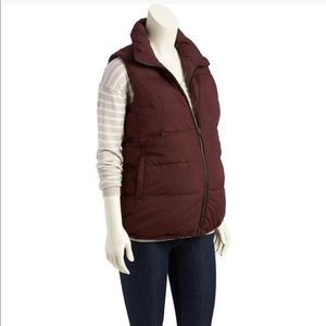 Maternity Quilted Outerwear Vest - Grey/ Burgundy